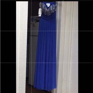 royal blue rhinestone gown NWT